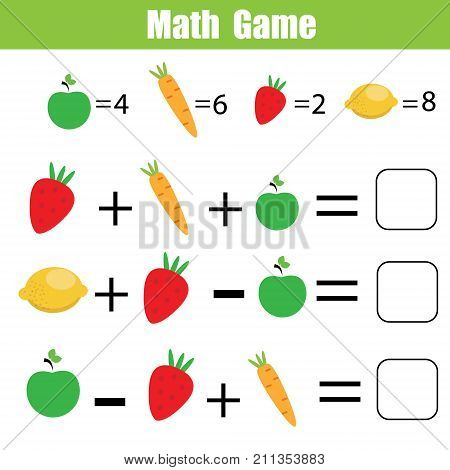 Mathematics educational game for children. Mathematical counting equations worksheet for kids