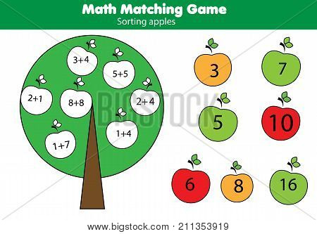 Math educational game for children. Matching mathematics activity with apples. Counting game for kids. Study addition