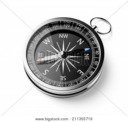 Black Chrome Compass Isolated