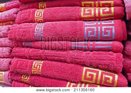 Pack of folded towels in the storage