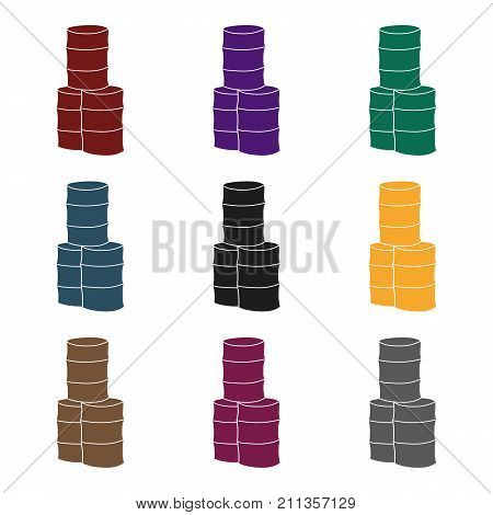 Barricade from barrels icon in black design isolated on white background. Paintball symbol stock vector illustration.