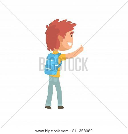 Cartoon male traveler hitchhiker with backpack, man trying to stop a car on a highway by hand, travelling by autostop vector Illustration on a white background