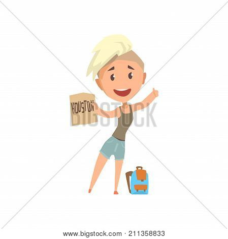 Cartoon traveler girl hitchhiker holding banner with the inscription Houston, woman trying to stop a car on a highway, travelling by autostop vector Illustration on a white background