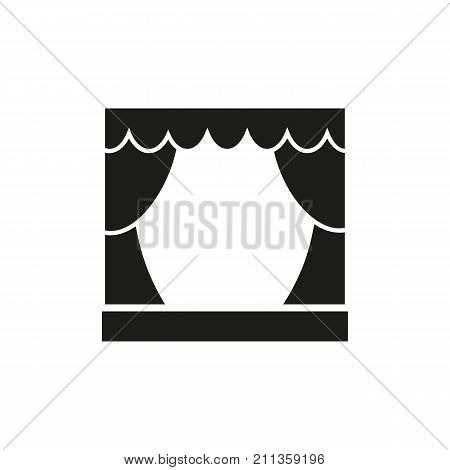 Simple icon of assembly hall. Stage, theatre, concert. School wayfinding concept. Can be used for topics like leisure, art, performance