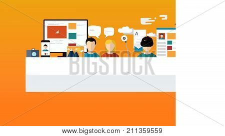 Business infographic and digital marketing icons. Social media icons, laptop, computer mail, smart phone. -stock vector