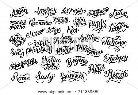 Set of hand lettering. Biggest cities in the world. Kiev, Almaty, London, Lisbon, Paris, Tokyo, Moscow, New York, Buenos Aires Rome Sydney Barcelona Vector collection