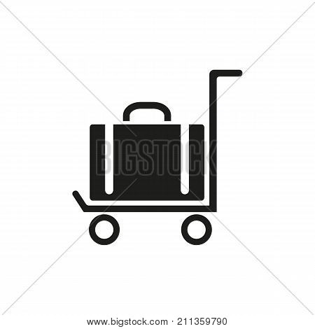 Simple icon of suitcase on cart. Carrying luggage, porter, baggage. Airport guide concept. Can be used for topics like transportation, travel, tourism
