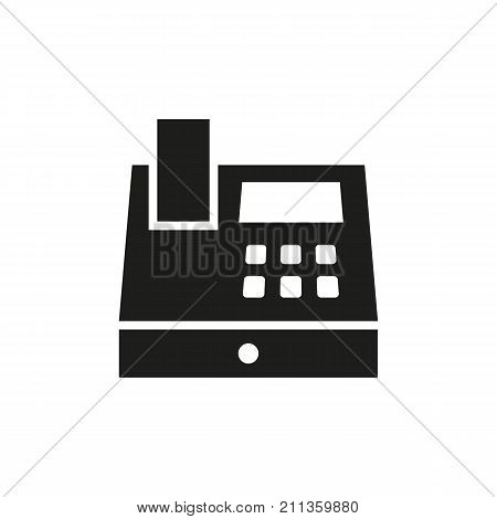 Simple icon of cash register. Ticket hall, cash desk, booking office. Railway station concept. Can be used for topics like banking, finance, shopping