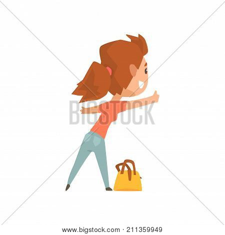 Cartoon female traveler hitchhiker with bag, girl trying to stop a car on a highway by hand, travelling by autostop vector Illustration on a white background