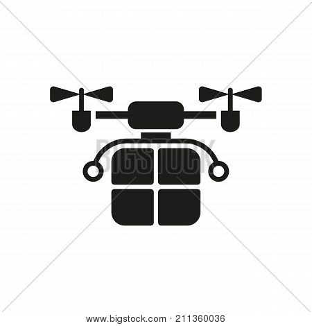 Simple icon of delivery drone carrying parcel. Parcel delivery, post service, robocraft. Robots concept. Can be used for topics like technology, robotic technology, distribution