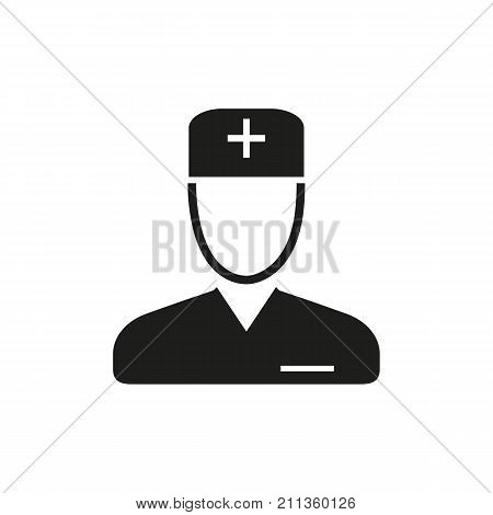 Simple icon of doctor or male nurse. Surgeon, general practitioner, first aid post. Airport guide concept. Can be used for topics like medicine, health, occupation