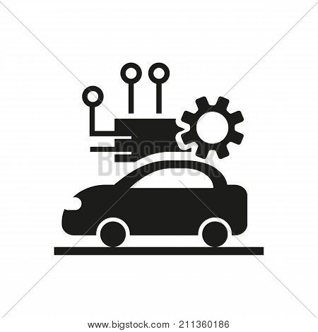Simple icon of driverless car. Service center, robotic technology, car repair. Robots concept. Can be used for topics like technology, transportation, innovation