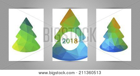 Set of christmas postcards with minimalistic polygonal fir tree with colorful green and blue geometric texture and 2018 numbers.
