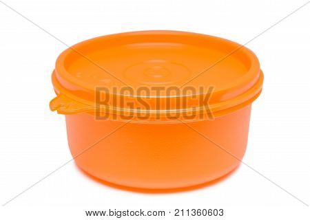 Plastic food bowl with lid isolated on white background