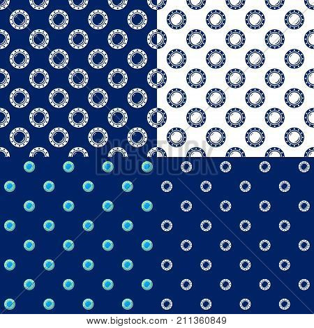 Set of Maritime Backgrounds Seamless Marine Pattern with Porthole Travel and Tourism Concept Vector Illustration
