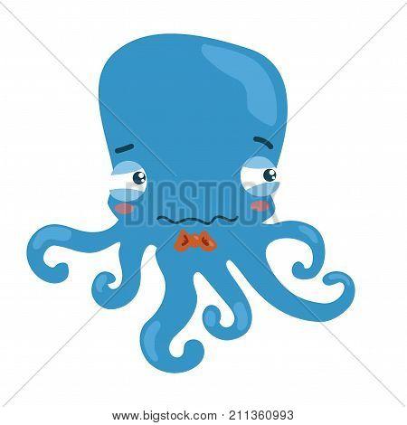 Cartoon octopus. A little sad octopus. Vector illustration for children. Art.