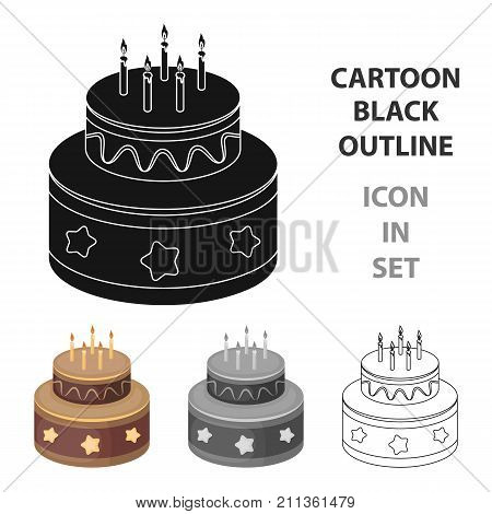 Chocolate cake with stars icon in cartoon design isolated on white background. Cakes symbol stock vector illustration.