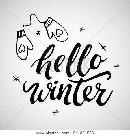 Hello winter vector photo free trial bigstock hello winter handlettering inscription winter logos and emblems for invitation greeting card t m4hsunfo