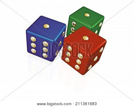 Red green and blue dies on white background 3D illustration.