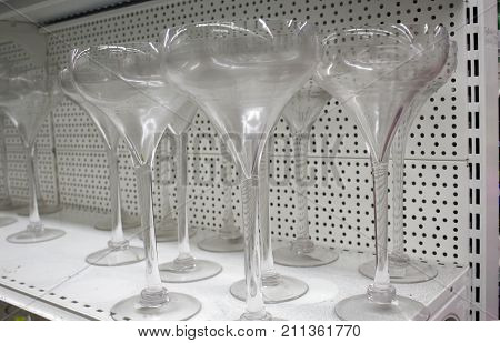 Row of empty transparent goblets in the storage