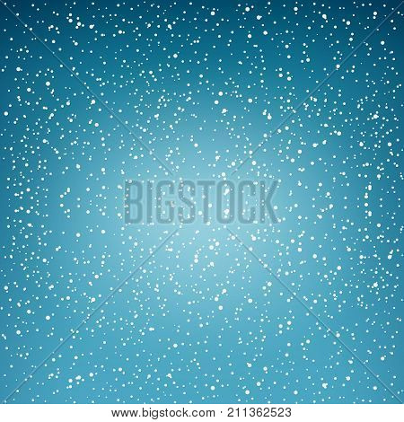 Snowfall Snow Falls in the Sky White Snowflakes on Blue Background Vector Illustration