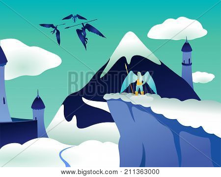 Vector art with flying angels and castle in heaven