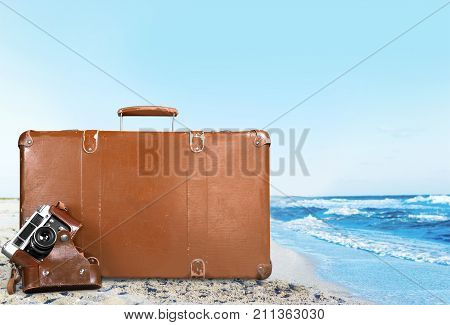 Brown vintage leather case suitcase white background