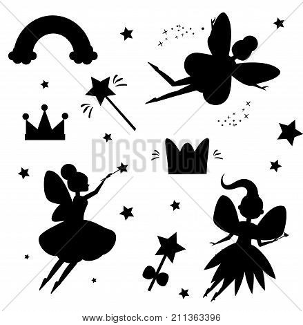 Flying fairies silhouettes isolated on white background. Magical features of fairy world. Isolated elements for stickers scrapbook and etc