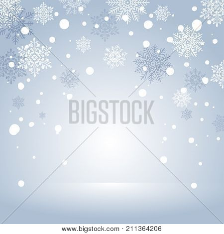 Winter Holiday Snow Background for banner or greeting card. Blue Christmas Abstract Backdrop with Snowflakes. Frame with snowflakes.