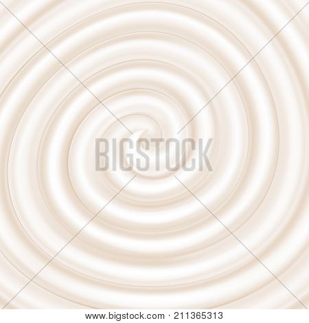 Yogurt. White swirl. Sweet spiral background. Cream yogurt cheese white chocolate. Vector illustration for advertising or packaging cosmetics (cream shampoo) or dairy products.