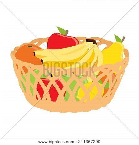 Vector illustration wicker basket with fruits banana apple pear orange icon isolated on white background. Fruit basket