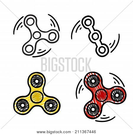 Doodle hand drawn fidget spinner - isolated vector illustration