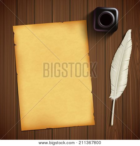 Old Sheet Of Paper For Writing And Feather With An Inkwell On A Wooden Table. Vintage Retro Style Ba