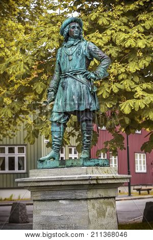 Statue Of Admiral Peter Tordenskjold In Trondheim, Norway.