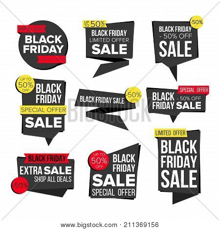 Black Friday Sale Banner Set Vector. Discount Tag, Special Friday Offer Banner. Special Offer Black Templates. Best Offer Advertising. Isolated Illustration