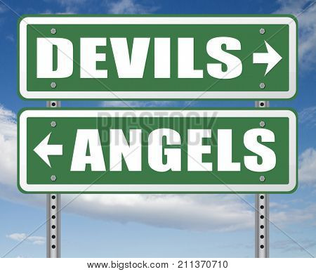devil and angel good or evil bad heaven and hell road sign with text arrow 3D, illustration