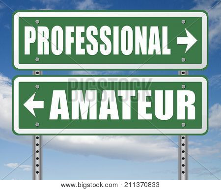 professional amateur craftsman expert novice or beginner skilled specialist or recruit and rookie road sign arrow craftsmanship 3D, illustration