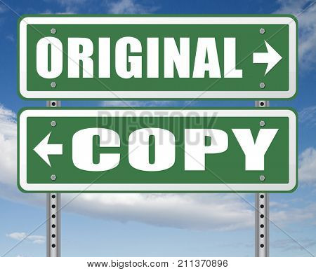 original idea or copycat cheap and bad copy or unique top quality product guaranteed road sign  3D, illustration