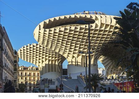 SEVILLE SPAIN - DECEMBER 29 2017: Museum Metropol Parasol popularly called