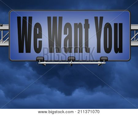 we want you for the job application, hiring now 3D, illustration