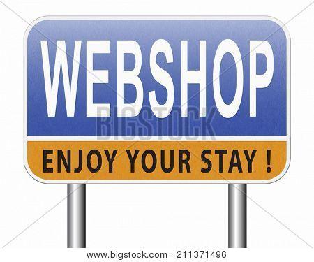 web shop or online shopping sign for internet webshop or store 3D, illustration