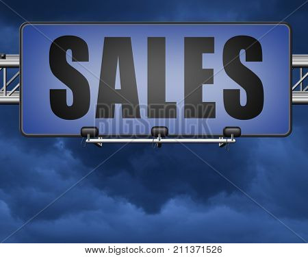 sales online shopping concept with discount web shop bargain cheap order at webshop sale road sign billboard 3D, illustration