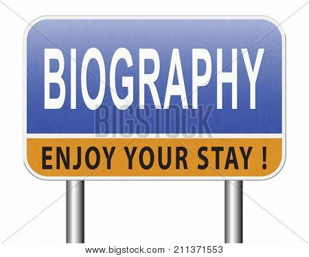 Bio button or biography leading to the story of your life about sign my life story resume 3D, illustration