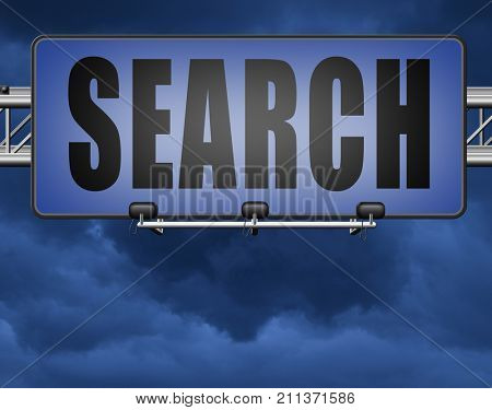 Search button searching information online find info on the internet 3D, illustration