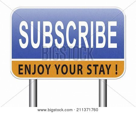 Subscribe here button online free subscription and membership for newsletter or blog join today 3D, illustration
