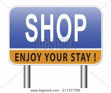 Shop now sign go to the online webshop road sign, internet web shopping billboard 3D, illustration