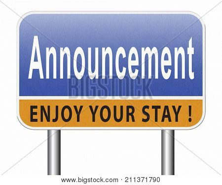 Announcement of important message, road sign billboard. 3D, illustration