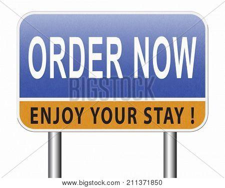 order now online at internet web shop button road sign billboard 3D, illustration