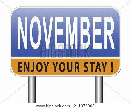 November fall or autumn month or event calendar, road sign billboard. 3D, illustration