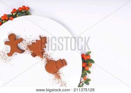 Holiday Food concept Homemade Chocolate truffle in Christmas and new year decor shape on white with copy space